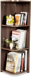 Debono Flora Corner Book Rack with Four shelves Engineered Wood Open Book Shelf