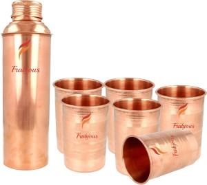 Frabjous pure 6 Copper Tumbler Glass with 900 ml Bottle