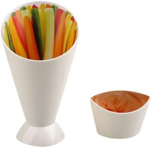 Shrih Creative Snack Stand Dip Serve Holder Fries Chips Finger Sauce Vegetables Plastic Bowl