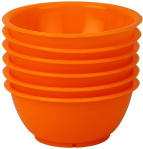 Day2Day Forever Orange Microwave Safe Bowls Pack of 6 Plastic Bowl Set