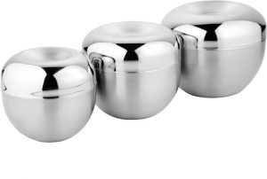 Lavi Multi-Purpose Storage Or Serving Decorative Set Of 3 Stainless Steel Bowl Set