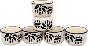 Stonish ceramic/handmade Dip in White colour with Chinese Pattern Stoneware Bowl Set