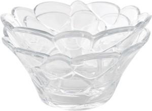 TRUENOW VENTURES Pvt. Ltd Round Shape Transparent Glass Kitchen/Dining Crystal Bowl Set Of 2 Capacity 500 Ml Melamine Bowl Set