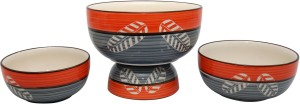 Stonish ceramic/handmade serving in Orange & Grey colour with Leaf Doodle Stoneware Bowl Set