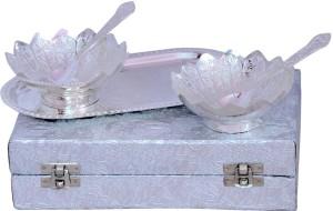 Odna Bichona Silver Plated Flower Shape Brass Bowl Set