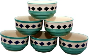 Stonish ceramic/handmade katori in sea green with blue star diamond pattern Stoneware Bowl Set