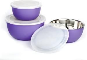 Winsky Microwave Safe Set Of 3 Cook & Serve Multi-Purpose Stainless Steel, Plastic Bowl Set