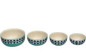 Stonish ceramic/handmade serving in sea green colour with blue diamond pattern Stoneware Bowl Set