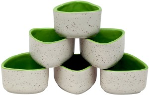 Stonish ceramic/handmade Dip in white and green colour Stoneware Bowl Set