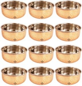 IndianArtVilla Serving Bowl Steel, Copper Bowl Set