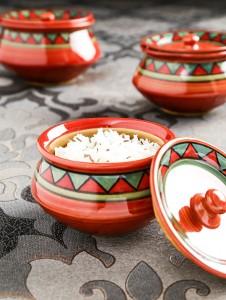 Unravel India Hand Painted stoneware ethnic Handhi set(Set of 3) Stoneware Disposable Bowl Set