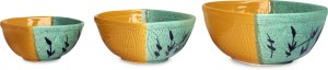 caffeine Serving in Yellow and Green Leaf (1 Large, 1 Medium & 1 Small) (Set of 3) Stoneware Disposable Bowl Set