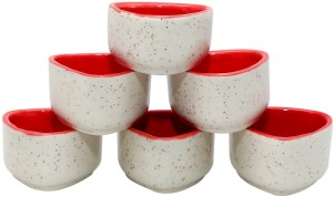 Stonish ceramic/handmade Dip in white and red colour Stoneware Bowl Set