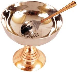 IndianArtVilla Ice Cream Desert Bowl with Spoon Steel, Copper Bowl Set