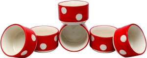 Stonish ceramic/handmade Dip in Red colour with Polka Dots Pattern Stoneware Bowl Set