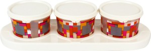 Jaypee Plus Serve 3 - Ivory/Transparent Cube Plastic Bowl