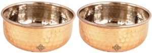 IndianArtVilla Steel Copper Set of 2 Vegetable Serving Bowl Steel, Copper Bowl Set