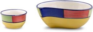 VarEesha Multicolored Ceramic Paisley Serving Dish with Sauce Bowl Ceramic Bowl Set