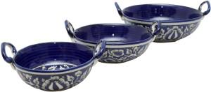 Stonish ceramic/handmade serving kadai in Royal Blue colour in Mughal Pattern Stoneware Bowl Set