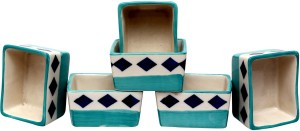 Stonish ceramic/handmade Dip in Seagreen colour with Diamond Pattern Stoneware Bowl Set