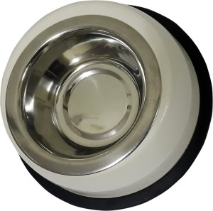 Dynore Stainless steel Cream Pet bowl Steel Bowl