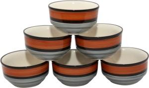 Stonish ceramic/handmade katori in grey colour with brown pattern Stoneware Bowl Set