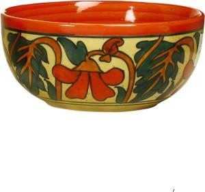 caffeine Katori Soup With Spoon Ceramic in Glossy Orange Flower (Set of 1) Handmade Stoneware Bowl