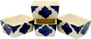 Stonish ceramic/handmade Dip in Blue colour with Umrao Pattern Stoneware Bowl Set