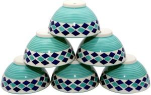 Stonish ceramic/handmade in sea green colour with blue diamond pattern Stoneware Bowl Set