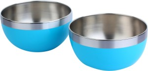 Homeish Plastic Coated - 15 Cms Stainless Steel Bowl Set