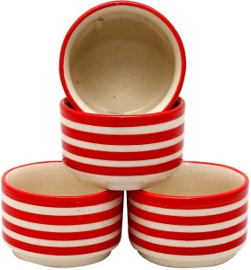 Stonish ceramic/handmade Dip in Red colour Stoneware Bowl Set