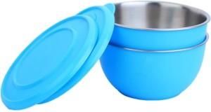 Lavi Healthy & Hygienic Microwave Safe Set Of 2 Cook & Serve Stainless Steel, Plastic Bowl Set