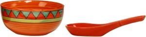 Caffeine Katori With Spoon Ceramic in Orange Triangle (Set of 1) Handmade Stoneware Bowl