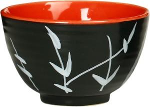 Caffeine Katori Dessert Ceramic in Glossy Black & Red Leaf (Set of 1) Handmade Stoneware Bowl