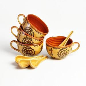 Cultural Concepts Warli Bowl Ceramic, Stoneware Bowl Set