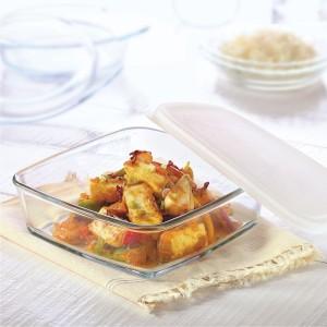 Borosil Square Dish with Lid-500 ml Glass Bowl