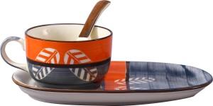 Caffeine Neon Orange Summer Stoneware Bowl Set