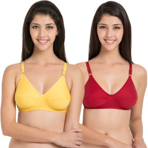 0aff9e5b2 Souminie by Belle Lingeries Soft Fit Cotton Non Padded Pack of 2 Women s Full  Coverage Red Bra Best Price in India