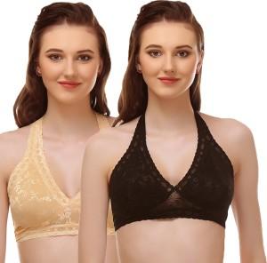 aa0fb352c2 Urbaano Women s Bralette Black Gold Bra Best Price in India ...