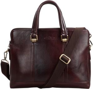 2fb28188ce3 Clubb Original Pure Leather Sleek Unisex Laptop Messenger Portfolio Bag  Medium Briefcase - For Men