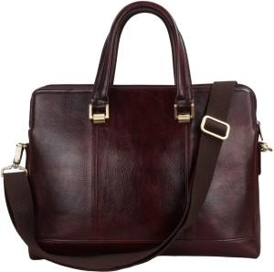 51fab376415 Clubb Original Pure Leather Sleek Unisex Laptop Messenger Portfolio Bag  Medium Briefcase - For MenTan