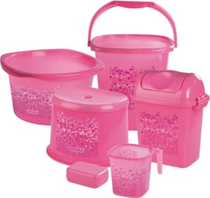 nayasa Pink Bathroom Set - 6 Pieces 25 L Plastic Bucket