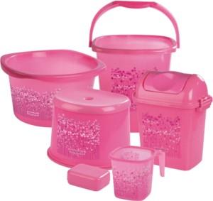 Nayasa Pink Bathroom Set   6 Pieces 25 L Plastic Bucket ( Pink )