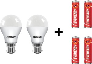 Eveready 7 W LED Bulb Pack of 2 with Free 4 Batteries