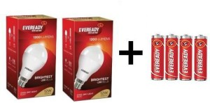 Eveready 12W LED Bulb Pack of 2 with Free 4 Batteries