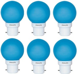 Philips 0 5 W Round B22 Led Bulbblue Pack Of 6