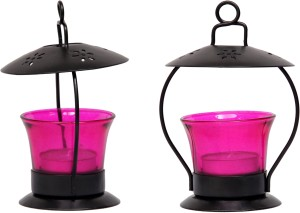 Sutra Decor Pink Votive Iron 1 - Cup Tealight Holder Set