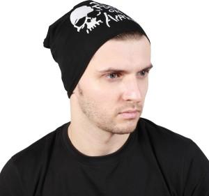 Noise Focus on Airking Black Beanie Printed Skull Cap