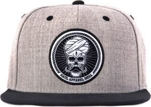 023e744c32e Haul Apparel Embroidered Skull Stache Hip Hop Heather Grey Snapback ...