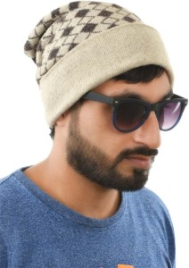 Tiekart Geometric Print Woollen Cap